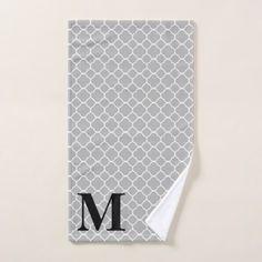 Custom Monogram Quatrefoil Pattern Bath Towel Set - monogram gifts unique custom diy personalize