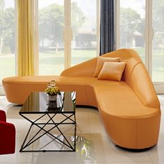 Corner Sofa Orange, Curved Corner Sofa, Leather Sectional, Sectional Sofa, Round Couch, Upholstered Sofa, L Shaped Couch, Sofa Set Designs, Living Room Designs