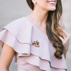 Vintage brooch from Sweet & Spark on a one shoulder dress!