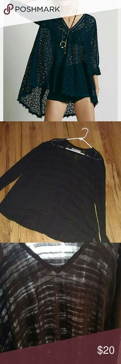 Free people beach sheer stripe swing tunic Not exact as shown in first image.  Is same cut and fit as first picture.  Sheer with stripes throughout  Free people beach Size small Free People Tops