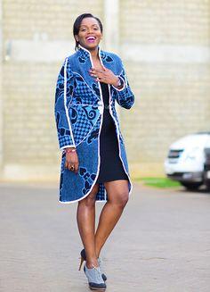 Basotho Blanket Classic Starburst Coat by Thabo Makhetha. African Print Dresses, African Print Fashion, African Fashion Dresses, African Dress, African Outfits, African Design, African Style, Blanket Jacket, Ankara Jackets