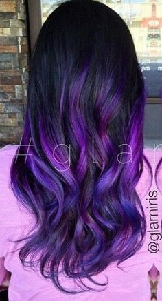 Crazy Hair Styles -                                                      Purple ombre dyed hair
