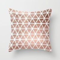 Geometric faux rose gold foil triangles pattern Throw Pillow: