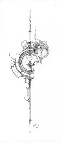 The Clockwork of Eric Freitas Fine Horological Horticulture Clock Tattoo Design, Compass Tattoo Design, Geometric Tattoo Design, Compass Drawing, Art Drawings Sketches, Ink Illustrations, Clock Drawings, Body Art Tattoos, Sleeve Tattoos