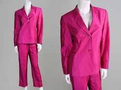 Vintage 80s 90s Betty Barclay Pink Silk Trouser by ZeusVintage