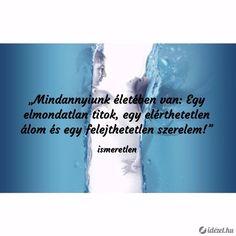 Mindannyiunk életében van: Egy elmondatlan titok, egy elérthetetlen álom és egy felejthetetlen szerelem! - ismeretlen - www.idézet.hu Sad, Quotes, Quotations, Quote, Shut Up Quotes