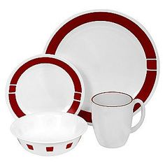 Red Corelle set. Love these too!!!!