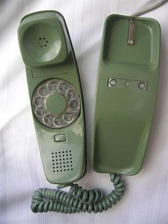 Phone, vintage, rotary, green, low voltage, 60s, old telephone, vintage telephone