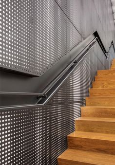 Solomon Cordwell Buenz (SCB) were engaged by the owners to redesign three floors of 111 South Wacker located in Chicago, Illinois. Steel Stairs Design, Metal Stairs, Metal Railings, Railing Design, Gate Design, Staircase Design, Door Design, Metal Facade, Metal Screen