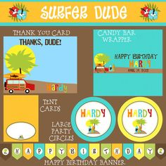 Surfer Dude Birthday Party Package - Boy DIY Printable