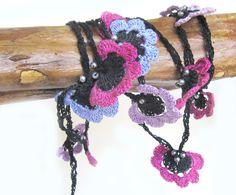 Rubililacand violet Wrap Crochet flowers 210 cm by SEVILSBAZAAR