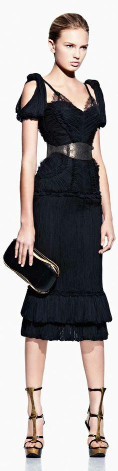 Alexander McQueen - 2012 - black dress with lace detail cold shoulder dress #UNIQUE_WOMENS_FASHION