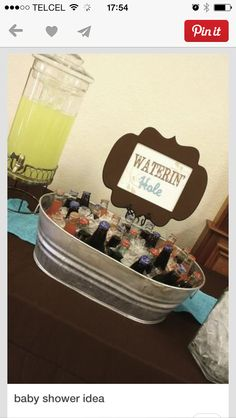 Waterin& hole & drink ideas & western cowboy baby shower The post Waterin& hole & drink ideas & western cowboy baby shower appeared first on Wedding. Cowboy Theme Party, Cowboy Birthday Party, Farm Birthday, Rodeo Party, Birthday Ideas, Cowgirl Party Food, Rodeo Birthday, Hunting Party, Birthday Parties