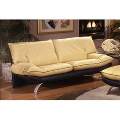 Omnia Leather Princeton Leather Sofa Upholstery: Softsations - Black