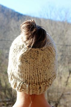 Chunky Knit Bun hat for adventures outside!