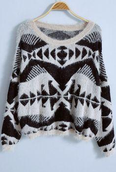 Beige Long Sleeve Geometric Print Loose Sweater