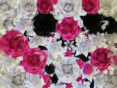 Paper flower wall paper flower backdrop perfect by PaperstoPetals
