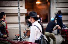 Street style photographer @eva.al.desnudo during #NYFW  Follow us @streetvues | streetvue.co  #newyork #streetstyle #streetphotography #style #fashion #primeshot #photographer #womenswear #blackandwhite #hat