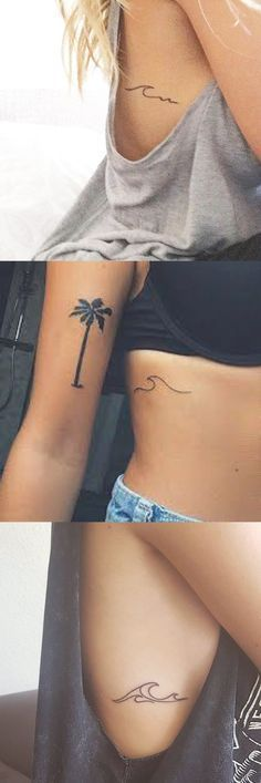 Minimalist Small Tattoo Ideas for Women - Surf Wave Beach Ocean Rib Tatt - Palm Tree Bicep Arm Tat