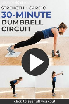 Full body strength training This circuit workout consists of 16 strength training exercises using dumbbells to work every muscle group in 30 minutes. Full Body Workout At Home, Home Workout Videos, At Home Workouts, Body Workouts, Full Body Strength Workout, Circuit Workouts, Exercise Videos, Fitness Workouts, Benefits Of Strength Training