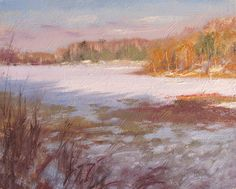"""Winter Warmth"" 8 x 10"" oil on panel. Painted on location near Danbury, Wisconsin. February 2015."