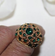 GORGEOUS CROWN TRIFARI SIGNED DOMED RING WITH GREEN STONES STUNNING ~ GORGEOUS!!