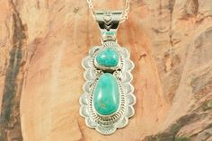Double Turquoise Pendant 2 in long