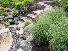 stone and brick patios and walkway paths Brick Walkway, Brick Patios, Outdoor Rooms, Outdoor Living, Outdoor Decor, Landscaping On A Hill, Dry River, Stone Stairs, Backyard Designs
