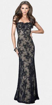 La Femme Black Lace Evening Gowns by