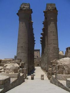 Egyptian Pharaoh Amenhotep's Colonnade at Luxor Temple.