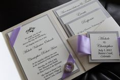 Opulence Pocket Wedding Invitation in Lilac and Silver Shimmer Paper, Brooch, Lilac Satin Ribbon for Elegant, Classic Wedding. $6.75, via Etsy.