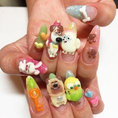 Woof! Nail Art for National Pet Day -  - NAILS Magazine Linda Nails, Instagram Nails, Instagram Posts, 3d Acrylic Nails, Kawaii Nail Art, National Pet Day, Fun Nails, Nice Nails, Creative Nails
