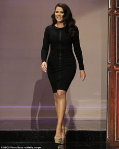 Making an entrance: She stunned in the figure hugging outfit from her own Kardashian Kollection