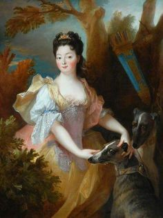 Portrait of a Lady as Diana by Nicholas de Largilliere, century France, the Bowes Museum. Nicholas de Largilliere, century France, the Bowes Museum Artemis, Greyhound Kunst, Louis Xiv, Art Uk, Fine Art, French Artists, Your Paintings, Dog Art, Diana