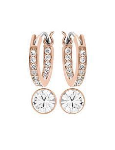 Swarovski Canvas Crystal And Rose Gold Pierced Earrings Set
