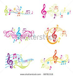 Set of Colorful Musical Notes Illustration - in vector by Woodhouse, via ShutterStock