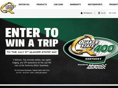 Enter the Quaker State 400 Sweepstakes for a chance to win 1 of 3 3-day/2-night trip for two to Sparta, Kentucky!