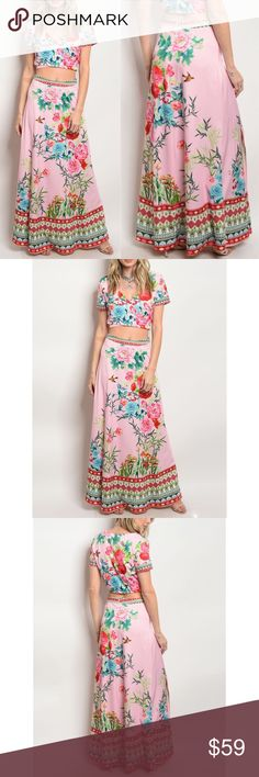 """🌸 Gorgeous 2 Piece Maxi Skirt Set """"Flutter"""" S M L 😍 This is absolutely Gorgeous! Bonafide walking piece of art! Both top and bottom zip to close. However, they are very stretchy and super soft! Spring into spring AS SPRING 👏🏾👏🏾👏🏾 Approx 41"""" Long.   🙆🏾♀️I have lots of affordable things in my closet. Please take advantage and... 🌸BUNDLE FOR A HUGE DISCOUNT🌸  💁🏾♀️✨Happy Poshing! BOUTIQUE BRAND Skirts Skirt Sets"""