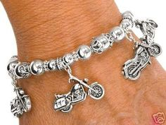 'Biker Chick Motorcycle Stretch Charm Bracelet' is going up for auction at 9am Fri, Jun 29 with a starting bid of $5.