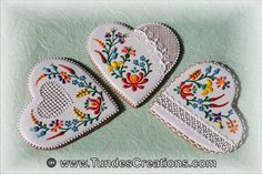 Decorated cookies with sugar lace and Hungarian folk pattern.