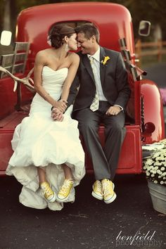 Love this idea! Both the Groom and the Bride have the same shoes.