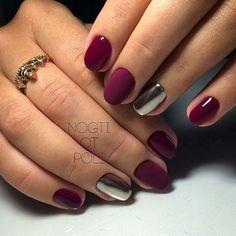 27 Dazzling Ideas For Maroon Nails Designs - Nail Art - Maroon Nail Designs, Nail Art Designs, Nails Design, Love Nails, Fun Nails, Nail Deco, Gelish Nails, Shellac, Burgundy Nails