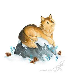 Illustration for a winter animal collection. Here is a wolf, resting on its rock and contemplative to the snow starting to dress up the surroundings. Where Do I Live, Gouache, Rooster, Mystery, Wolf, Teddy Bear, Seasons, Drawings, Winter