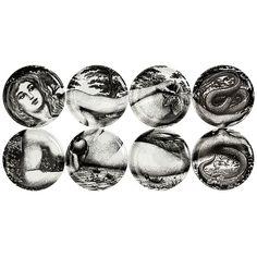 EVA plates by Fornasetti  As Gio Ponti said, Fornasetti makes objects speak. #1stdibs great #gift #fornasetti