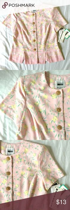 """Vintage Leslie Fay Short Sleeve Suit Top Washable Vintage Leslie Fay Dressed, Size 10 Petite, Short Sleeve Suit Top in Machine Washable polyester, Pink with yellow flowers sea foam green leaves, round neckline, 5- buttons, 4"""" slits in front at hem slightly below Waist for flattering fit, Goldtone filigree metal buttons, shoulder pads for an elegant silhouette, princess seaming. Attached tags. Excellent Condition. Measures 16"""" across shoulders, 29"""" armpit to armpit,  18.5"""" width at last…"""