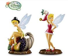 Disney tinkerbell Figurines  | ... DISNEY TINKER BELL THANKSGIVING & CHRISTMAS FIGURINES SET OF 2