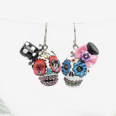 Dia De Los Muertos Skull Earrings 00252 Ceramic Sugar Skull Jewelry