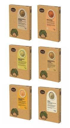 Logo design and packaging design system for Gulabs; a range of small scale Indian food products (snacks condiments and spices). Positioned at shoppers in Indian supermarkets this is an ethnic kitschy and earthy looking product that promises traditional Spices Packaging, Kraft Packaging, Organic Packaging, Tea Packaging, Dessert Packaging, Bottle Packaging, Food Branding, Food Packaging Design, Logo Food