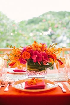 pink orange flower arrangement