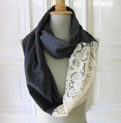 DIY Lace Scarf :: Add lace onto existing pieces to get a cute look!